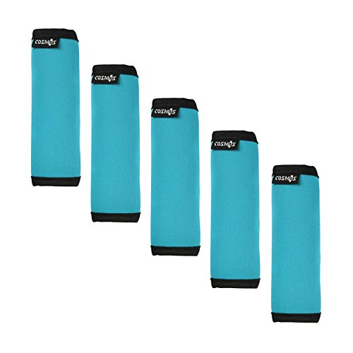 Cosmos 5 PCS Aqua Blue Color Comfort Neoprene Handle Wraps/Grip/Identifier for Travel Bag Luggage Suitcase