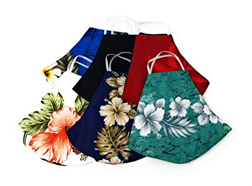 Hawaiian Assorted Aloha Print Reusable, Washable, Reversible Soft 100% Cotton Face Masks, 6 Pack - Made in The USA