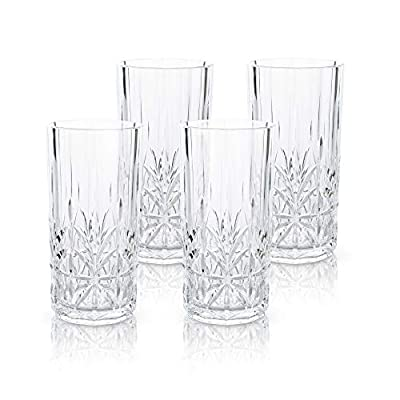 BELLAFORTE - Shatterproof Tritan Tall Tumbler, Clear - 18oz, Set of 4 Myrtle Beach Dishwasher safe Plastic Tumblers - Unbreakable Glassware for Indoor and Outdoor Use - Reusable Drinkware, BPA Free