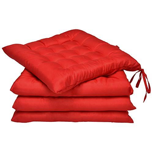 Beautissu Coussin Chaise Jardin Lea - Lot de 4 – Coussin Exterieur Confortable et épais - Idéal pour intérieur et extérieur - 40x40x5 cm - Rouge