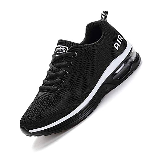 smarten Unisex Uomo Donna Scarpe da Ginnastica Corsa Sportive Fitness Running Sneakers Basse Interior Outdoor Casual all'Aperto Shoes -Molti Colori Black White 43EU