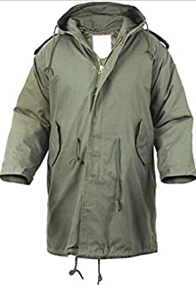Jacekt Military M-51 Fishtail Parka Hooded Army Field Winter Jacket Long Tail Trench Olive Drab Color Size L Get 1 Pcs