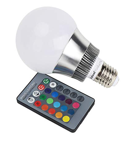 Ideal Products Bombilla Led de 16 colores con mando a distancia, 10W (equivale a 40-60W bombilla normal) y rosca tipo E27. Ambiente Romántico con un'clic' para Fiestas, Restaurantes, Clubs, etc.