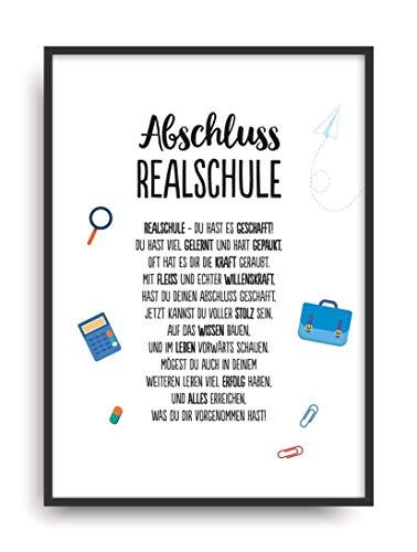 Geschenk Karte REALSCHULE Kunstdruck Schule Kind Abschluss Prüfung Bild ohne Rahmen DIN A4