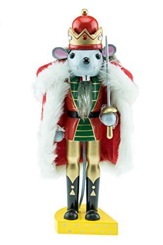 Clever Creations - Traditioneller Nussknacker aus Holz - Mäusekönig mit Käsesockel - Festliche Weihnachtsdeko - perfekt für Regale & Tische - 25,4 cm