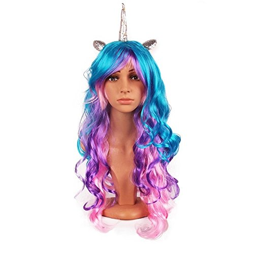 Oexper Unicorn Pony Cosplay Wig Rainbow Ponytail Long Curly Hair for Costumes Party Hair Accessories