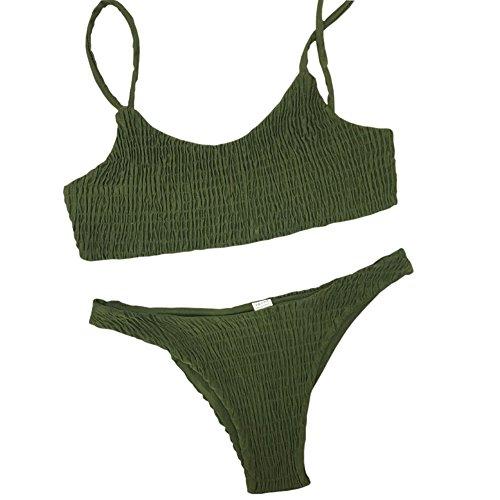 ECHERY Frauen Zwei Stück einfarbig Neckholder Geraffte Schwimmen Badeanzug Strand Bikini Set Armee Grün S