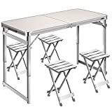 VIVOHOME 4 FT Aluminum Portable 3 Adjustable Height Folding Picnic Table with 4 Stools Set Lightweight Waterproof for Camping BBQ Party Backyard Indoor Outdoor