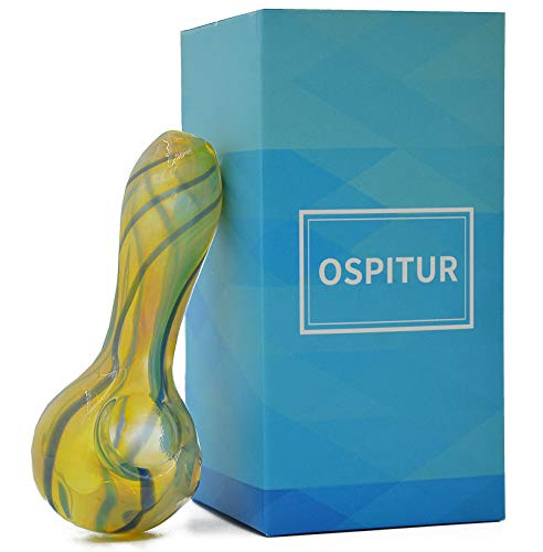 OSPITUR Handmade 4 inch Blown Glass Crafts Tube Decorative Bowl (Yellow)