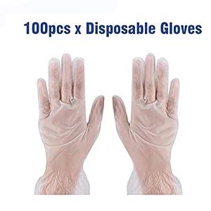100pcs Vinyl Gloves Disposable PVC Gloves, L Size