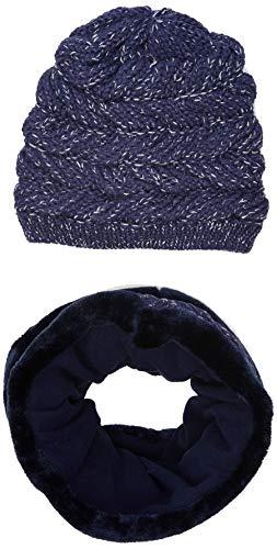 Mek Set Cappello E Scaldacollo con Eco Pelliccia Sciarpa, Guanti, Blu (Blu 14 285), 56 (Taglia produttore:M) Bambina