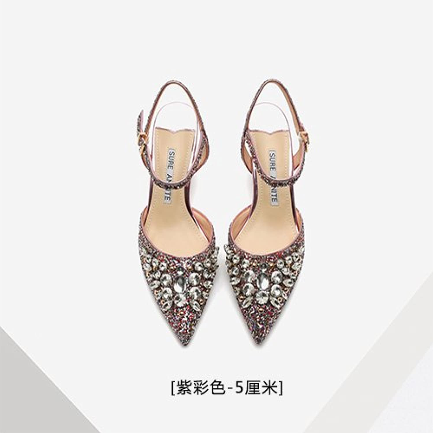 Summer style crystal sequins, high heels, shoelace buttons, empty women sandals, fine heel crystal shoes, silver wedding shoes,Thirty-eight,Purple color (5CM)