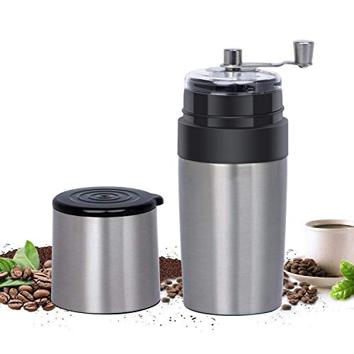 Travel Coffee Grinder Set Eastmount- All In One Portable Manual Grinder Brew Coffee Maker Adjustable Coffee Bean Mill With Stainless Steel Body & Easy Hand Crank (400ML, Silver)