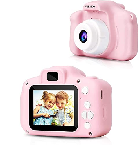 VILHOZ Kids Camera, Digital Camera Toddler Video Recorder Shockproof Rechargeable Selfie Camcorder 1080P for 3-12 Year Old Boys Girls Birthday Toy Gifts (Pink)