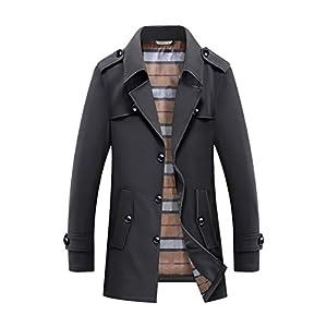 ONEU トレンチコート メンズ 長袖 秋冬 厚手 ジャケット ボタン 綿 服 メンズ スタイリッシュ シンプル カジュアル ビジネス コート