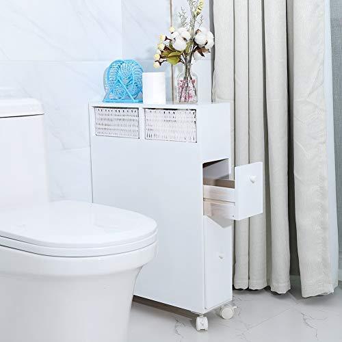 GOTOP Armoire de salle de bain en bois avec roulettes pour rouleau de papier toilette, rouleau de papier à rouler, étagère de rangement fine avec 2 tiroirs, blanc, 50 x 16 x 72,5 cm