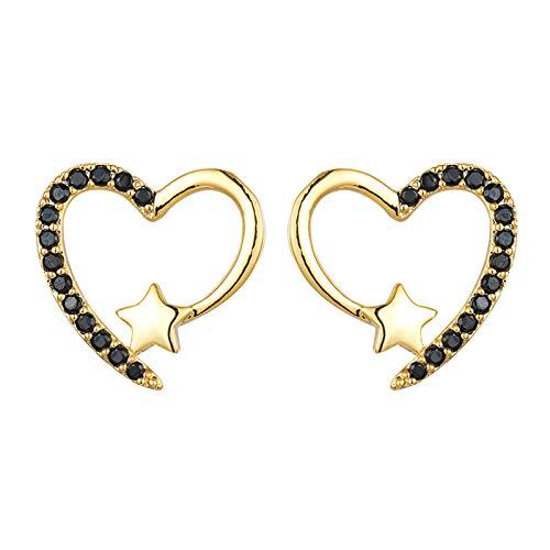 HFDHD Pendientes de Mujer en Forma de corazón, Pendientes de botón de corazón con circonita cúbica, Pendientes de Diamantes de Estrella hipoalergénicos Regalos de joyería para Mujer Black Golden