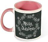 Taza de café de cerámica divertida - Decoración navideña Árbol verde con patrón de feliz Navidad para hombres / Día de San Valentín / Cumpleaños / Vasos navideños-rosa-patrón2
