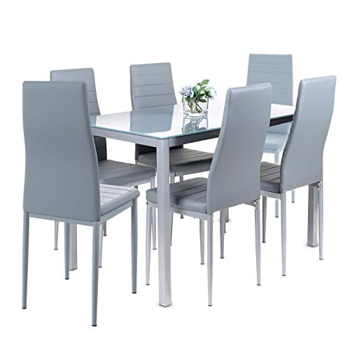 Jooli H Dining Table and Chairs Set 6, Modern Glass Table with 6 High Back Faux Leather Chairs for Home Office Use (Grey)