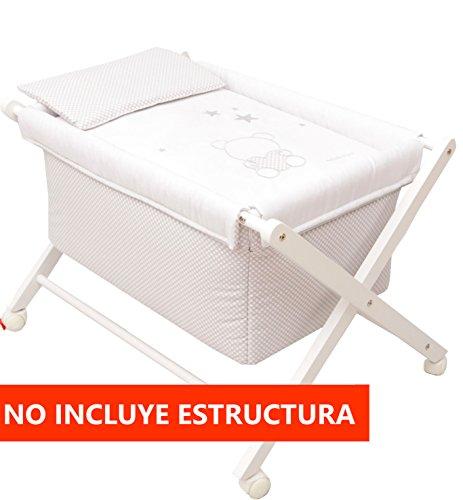 Minicuna mibebestore Plegable Marino/Blanco Friends: Estructura + Vestidura + Colcha Desenfuntable +...