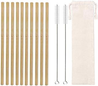 WHHHuan 10pcs Paille de Bambou Naturelle 20cm Pailles de consommation réutilisables avec Brosse de Nettoyage Barwoo Bamboo...