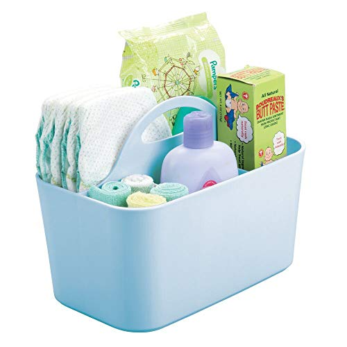 mDesign Cesta organizadora para el Cuarto del bebé con asa – Práctico Organizador de Juguetes con 4 Compartimentos – Apto también como cesto Organizador para Otras Habitaciones – Azul Claro