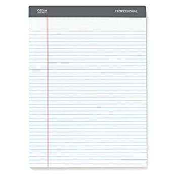 Office Depot Brand Professional Legal Pad 8 1/2  x 11 3/4  Narrow Ruled 200 Pages  100 Sheets  White Pack of 4