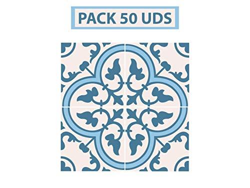 Oedim Pack 50 Vinilos Adhesivos para Suelo Positano Azul | Vinilo Ecológico | 40 x 40 cm | Autoadhesivos para Decorar o Renovar Suelo Mate, Suelos y Paredes