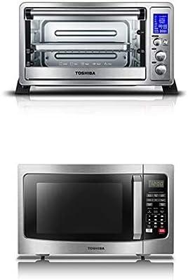 Toshiba AC25CEW-SS Digital Toaster Oven + Toshiba EM131A5C-SS Microwave Oven with Smart Sensor
