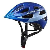 Cratoni Velo-X Leichter Allroundhelm Fahrradhelm Inlinerhelm mit Rücklicht (blau, S/M (52-57 cm))