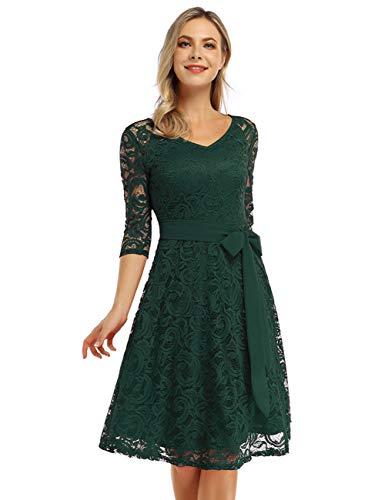 KOJOOIN Damen Vintage Brautjungfernkleid für Hochzeit Knielang Langarm Spitzenkleid Cocktailkleid Dunkelgrün S