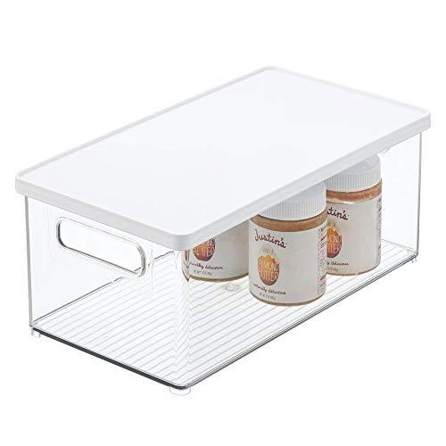 mDesign Caja organizadora de plástico para nevera – Recipiente para guardar alimentos con tapa extraíble – Organizador para nevera, cocina y despensa apto para alimentos – transparente/blanco