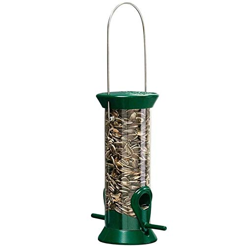 Droll Yankees New Generation Tube Feeder, Sunflower or Mixed Seed Bird Feeder, 8-Inches, Green