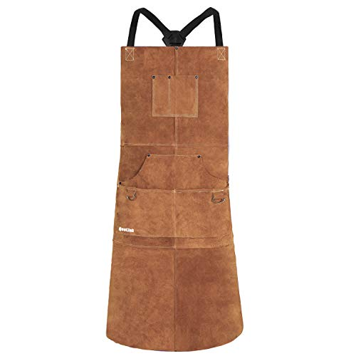 QeeLink Leather Welding Apron - Heat & Flame-Resistant Heavy Duty Work Apron with 6 Pockets, 42' Extra Large & Cross Back Extra Long Strap, Adjustable M to XXXL Aprons for Men & Women (Brown)