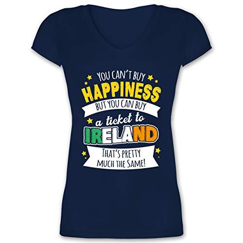 St. Patricks Day - A Ticket to Ireland - weiß - XS - Dunkelblau - St. Patrick's Day - XO1525 - Damen T-Shirt mit V-Ausschnitt