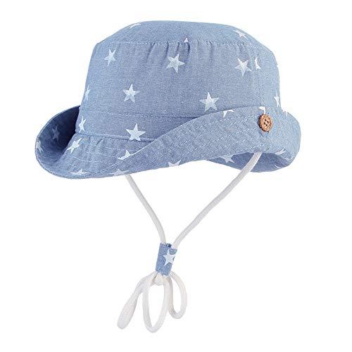 GEMVIE Baby Sonnenhut Kinder Jungen Mädchen Fischerhut Baumwolle Sterndruck UV Schutz Faltbarer Sommerhut mit Verstellbar Kordelzug (Hellblau, 48cm)
