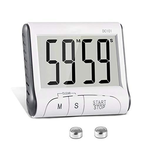 ONEVER Minuterie de cuisine Chronomètre numérique Minuterie de cuisson Réveil avec grand écran Alarme sonore Alarme Panneau arrière magnétique Support rétractable