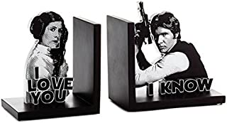 Star Wars Han Solo and Princess Leia Bookends, Set of 2 Desk Accessories Sci-Fi