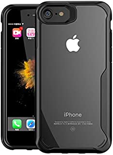 Plus Bumper Case with Clear Back Hard Panel Protective Case Cover for Apple iPhone 6 / Apple iPhone 6S (Black)