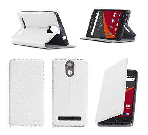 XEPTIO Wileyfox Storm 4G Dual SIM Tasche Leder Hülle weiß Cover mit Stand - Zubehör Etui Wileyfox Storm 4G Flip Case Schutzhülle (PU Leder, Handytasche Weiss White) Accessories