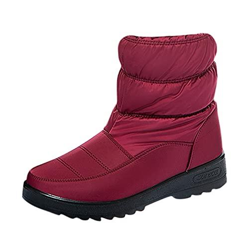 YWLINK Zapatos De AlgodóN Botas De Nieve Para Mujer Invierno Botas De Lluvia De Piel Botas Impermeables Para Caminar Senderismo Botas Cortas CáLidas Botas Con Plataforma Y Felpa (Rojo, 39)
