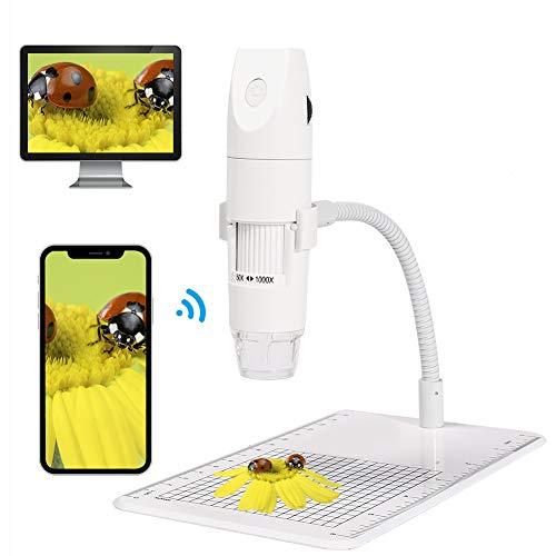 Microscopio Digital WiFi,KNMY Microscopio Electronico 50x -1000x Aumento,1080P HD 8 LED Microscopio USB Compatible con iPhone iPad Mac Teléfono Android Tableta PC(Blanco)