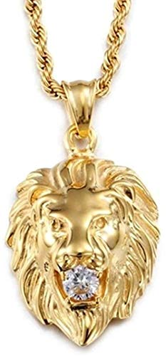 LKLFC Collar para Mujer, Collar para Hombre, Punk, aleación de Oro, Cabeza de león, Colgante de circonita, Collar, Colgante, Collar, Regalo para niñas y niños