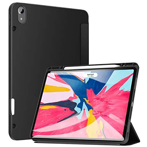 ZtotopCase Hülle für iPad Pro 12.9 Zoll 2018(Nicht für Modell 2020), Smart Cover Schutzhülle mit Stifthalter, Automatischem Schlaf/Aufwach,Kompatibel mit Pencil, für iPad Pro 12.9 2018 - Schwarz