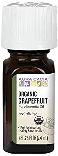 Aura Cacia 100% Pure Grapefruit Essential Oil | Certified Organic, GC/MS Tested for Purity | 7.4 ml (0.25 fl. oz.) | Citru...