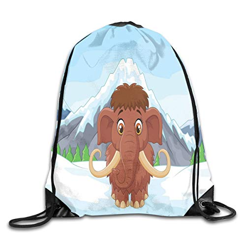 Drawstring Backpack Sports Gym Bag for Women Men, D1005 Baby Mammoth In Ice Snowy Mountain Winter Cheerful Animal Prehistoric Design