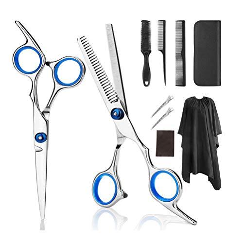 sdgfd Sets de Ciseaux à Cheveux, Ciseaux de Coiffure en INOX, Ciseaux de Coiffure en INOX pour éclaircir et structurer, modelage Sets de Coiffure Professionnels 9PCS (Bleu)