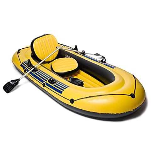 QSKL Juego de Bote de Kayak Inflable para Adultos, Botes de Remo de Kayak inflables, Bote de Deriva Plegable Resistente al desgarro de Pesca Engrosado,3 Person