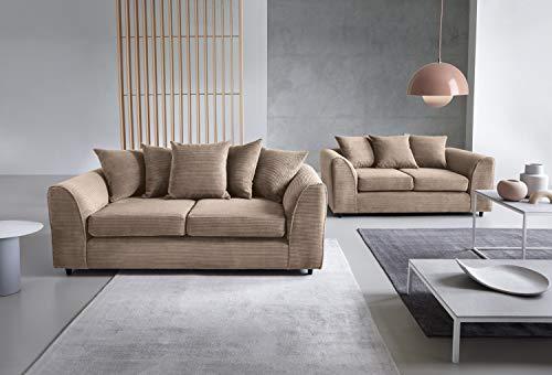 Abakus Direct Dylan Byron Sofa-Sofa, 3 + 2 Sitzer, Schwarz, Textil, grau, 2+3 Brown