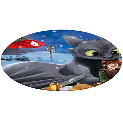 NiYoung Premium 24' Diameter Round Area Rug - How-to Train Your Dragon Hiccup and Toothless Anti-Slip Kitchen Rug Home Decor for Living Room, Home, Bedroom, Contemporary Memory Foam Shaggy Rugs
